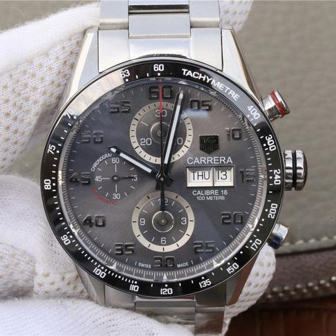 V6泰格豪雅卡莱拉系列赛车自动机械计时钢带精仿手表
