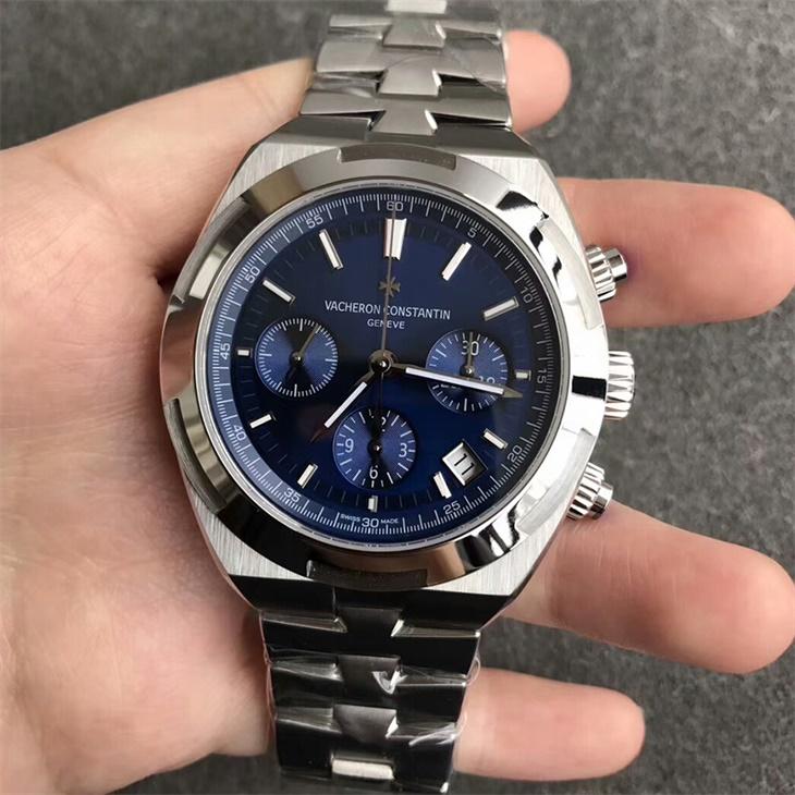 【8F厂】江诗丹顿(Vacheron Constantin)纵横四海系列蓝面钢带男士自动机械一比一计时手表