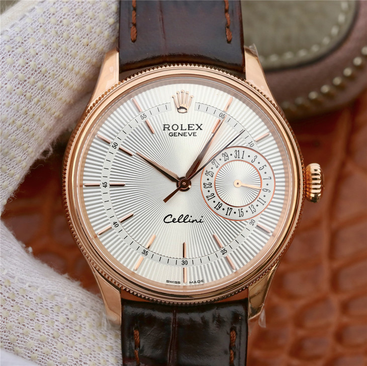 MKS劳力士切利尼系列50515银盘棕带一比一精仿手表