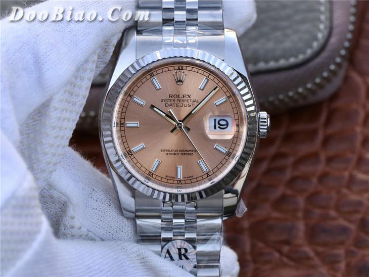 AR劳力士日志型36系列116234粉盘超强904L精钢精仿手表